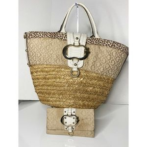 Guess Wicker Tote & Matching Wallet